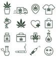 marijuana cannabis icons set of medical vector image vector image