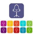 Modern office chair icons set flat