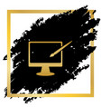 monitor with brush sign golden icon at vector image vector image
