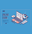online exam laptop with test questions on screen vector image