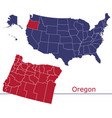 oregon map counties with usa map vector image vector image