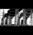 power station and high-voltage lines vector image vector image