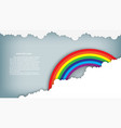 rainbow on blue sky with cloud paper art style vector image vector image