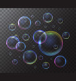 realistic 3d detailed soap bubble on a transparent vector image vector image