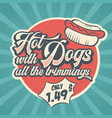 retro advertising restaurant sign for hot dogs vector image vector image