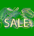 sale leaves on a green background for advertising vector image