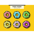 Set of donuts with powder in flat style vector image vector image