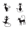 silhouette of black graceful cats vector image vector image
