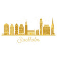 stockholm sweden city skyline golden silhouette vector image