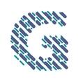 Striped latin alphabet letter G Hatching font vector image