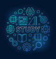 study round education blue in vector image vector image