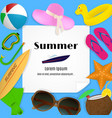 summer travel template with beach accessories a vector image