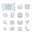 Thin line icons set contact