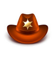 Cowboy hat with sheriff badge isolated vector image