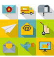 online delivery icons set flat style vector image