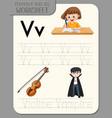 Alphabet tracing worksheet with letter v and v