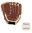 Baseball glove and ball vector image vector image