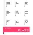 black flags icons set vector image vector image