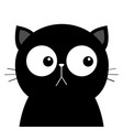 black sad cat head face with big eyes cute vector image