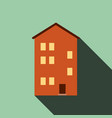 building house icon with long shadow flat design vector image