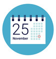 calender icon on round blue background vector image vector image
