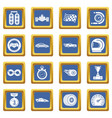 car race icons set blue square vector image vector image