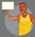 cartoon man in a t-shirt is pointing at an empty vector image