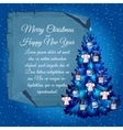 Christmas tree with angels and poster vector image vector image