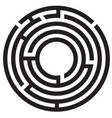 circle maze symbol on white background round maze vector image vector image