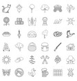 countryside icons set outline style vector image vector image