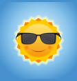 cute cheerful smiling sun on blue sky background vector image