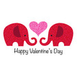 cute red glitter valentine elephants with heart vector image vector image