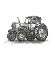farm tractor sketch agricultural industry vector image