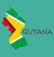 flag map of guyana vector image vector image
