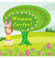 girl in bunny costume- funny easter design vector image vector image