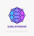 global networking thin line icon vector image