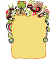 hand draw ornate frame with animals and bird vector image vector image