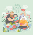 happy family eating watermelon in park vector image vector image