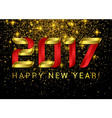 Happy New Year 2017 Gold with red volumetric vector image vector image