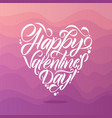 happy valentines day white lettering pink vector image vector image
