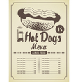 hot dog menu vector image vector image