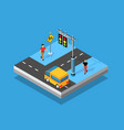 isometric crossroads intersection streets of vector image vector image