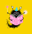 little kids magic monster holding book vector image