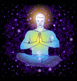 man sitting in the lotus position doing yoga vector image vector image