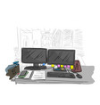 messy business office desk in the room vector image vector image