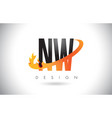 nw n w letter logo with fire flames design and vector image