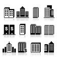 Office buildings business center icons set vector image