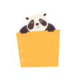 panda bear holding yellow empty banner cute