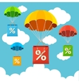 parachute with paper bag sale Flat Design vector image vector image