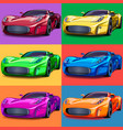 pop art sports cars six colors vector image vector image